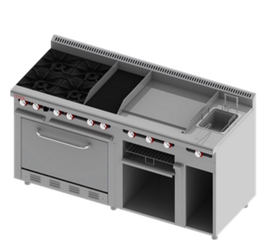 Estufa con asador plancha freidor gratinador y horno - Cocinas con plancha incorporada ...