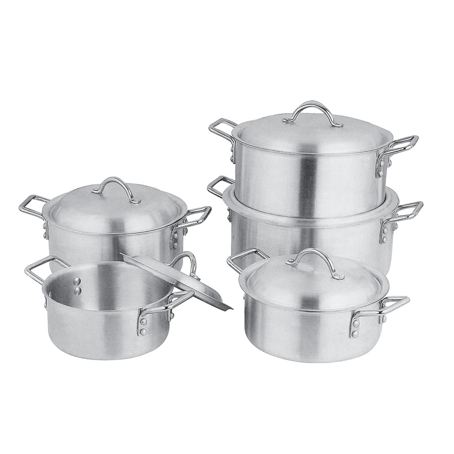Ollas de aluminio doble fuerte loza cristaleria for Utensilios de cocina de aluminio