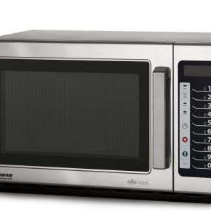 Horno de microondas general electric digital acero for Utensilios de cocina para microondas