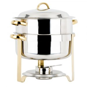 choice-14-qt-deluxe-soup-chafer-gold-accent-round-chafing-dish